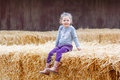 Happy girl having fun with hay on a farm Royalty Free Stock Photo
