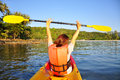 Happy girl having fun on kayak Royalty Free Stock Photo