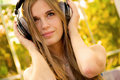 Happy girl with headphones Stock Photography