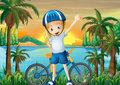 A happy girl and her bike at the riverbank illustration of Royalty Free Stock Image