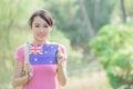 Happy girl hold australian flag Royalty Free Stock Photo