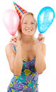 Happy girl holding balloons Stock Photos