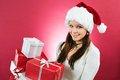 Happy girl holding christmas gifts Royalty Free Stock Photo