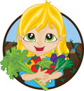 Happy girl holding home grown vegetables blonde caucasian a bunch of organic picked from her garden Royalty Free Stock Images