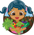Happy girl holding home grown vegetables mixed race a bunch of organic picked from her garden Royalty Free Stock Image