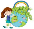 Happy girl hugging big earth on white background