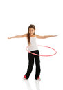 Happy girl with hula hoop Royalty Free Stock Photo