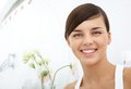 Happy girl image of pretty female looking at camera with toothy smile Royalty Free Stock Image