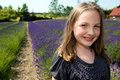 Happy girl at a lavender field Royalty Free Stock Photo
