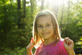 Happy girl little in beautiful fall light Stock Images