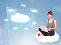 Happy girl looking at modern cloud network young Royalty Free Stock Photo
