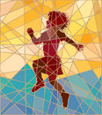 Happy girl mosaic editable vector colorful illustration of a young skipping Stock Image