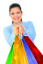 Happy Girl Offer Shopping Bags Stock Photos