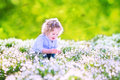Happy girl playing with first spring flowers laughing toddler curly hair in a blue dress snowdrops in a beautiful sunny park Stock Image