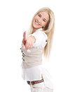 Happy girl pointing at camera young blond isolated on white Stock Photos