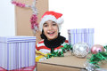 Happy girl with present boxes Royalty Free Stock Photography