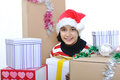 Happy girl with present boxes Royalty Free Stock Images