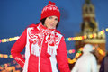 Happy girl red gum skating rink red square evening moscow russia Royalty Free Stock Photos