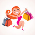 Happy girl shopping Royalty Free Stock Image
