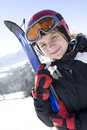 Happy girl with ski Stock Image