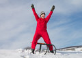 Happy girl with sledge on a hill at winter Royalty Free Stock Photography