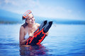 Happy girl after snorkeling Royalty Free Stock Photo