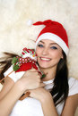 Happy girl with snowman Stock Image