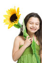 Happy girl with sunflower Royalty Free Stock Photography