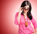 Happy girl with sunglasses Stock Images