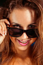 Happy girl in sunglasses studio Royalty Free Stock Image