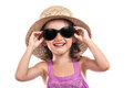 Happy girl sunglasses summer isolated Royalty Free Stock Image