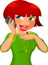 Happy girl talking cell phone Royalty Free Stock Photo