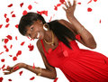 Happy Girl Throwing Rose Petal Royalty Free Stock Photo