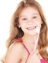 Happy girl with toothbrush Royalty Free Stock Image