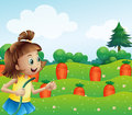 A happy girl watering the carrots in the farm illustration of Royalty Free Stock Photography