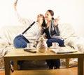 Happy girlfriends taking a selfie Royalty Free Stock Photo