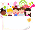Happy girls and boys illustration Royalty Free Stock Image