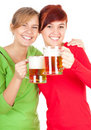 Happy girls friends with beer Stock Photo