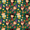 Happy girls in Halloween costumes with sweets seamless pattern