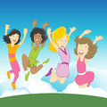 Happy girls an image of jumping in the air Royalty Free Stock Images