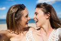 Happy girls looking at each other laughing Royalty Free Stock Photo