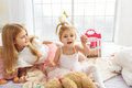 Happy girls playing in bedroom Royalty Free Stock Photo
