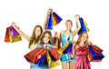 image photo : Happy girls with shopping bags