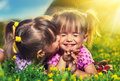 Happy girls twin sisters kissing and laughing in the summer family little outdoors Royalty Free Stock Photography