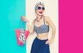 Happy Glamorous lady. Summer beach marine style Royalty Free Stock Photo