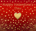 Happy gold valentines card  Royalty Free Stock Image