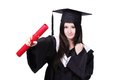 Happy graduate student girl with diploma Royalty Free Stock Image