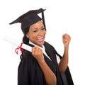 Happy graduate student portrait of on white background Stock Image