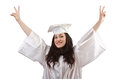 Happy graduate on white Royalty Free Stock Photo