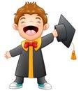 Happy graduation boy cartoon Royalty Free Stock Photo